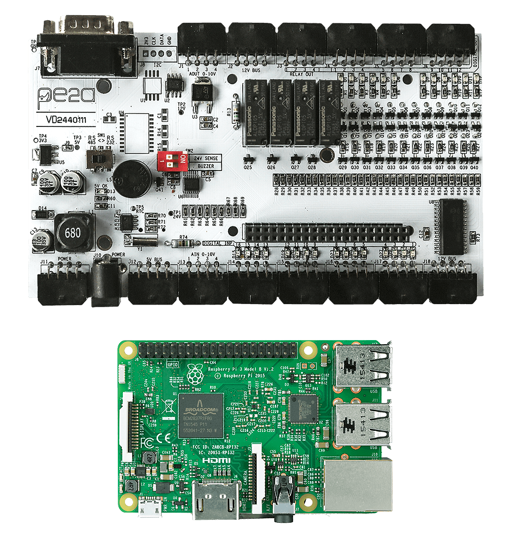 MedIOex and Raspberry Pi 3 - Industrial PLC Programming Card - Pe2a