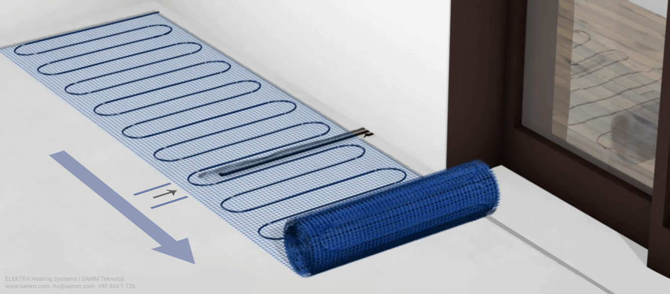 ELEKTRA Underfloor Heating Mat Installation | Make sure the temperature sensor will be exactly between two heating cables