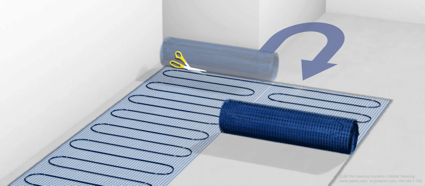 ELEKTRA Underfloor Heating Mat Installation | Place the heating mat according to the previously designed layout 2