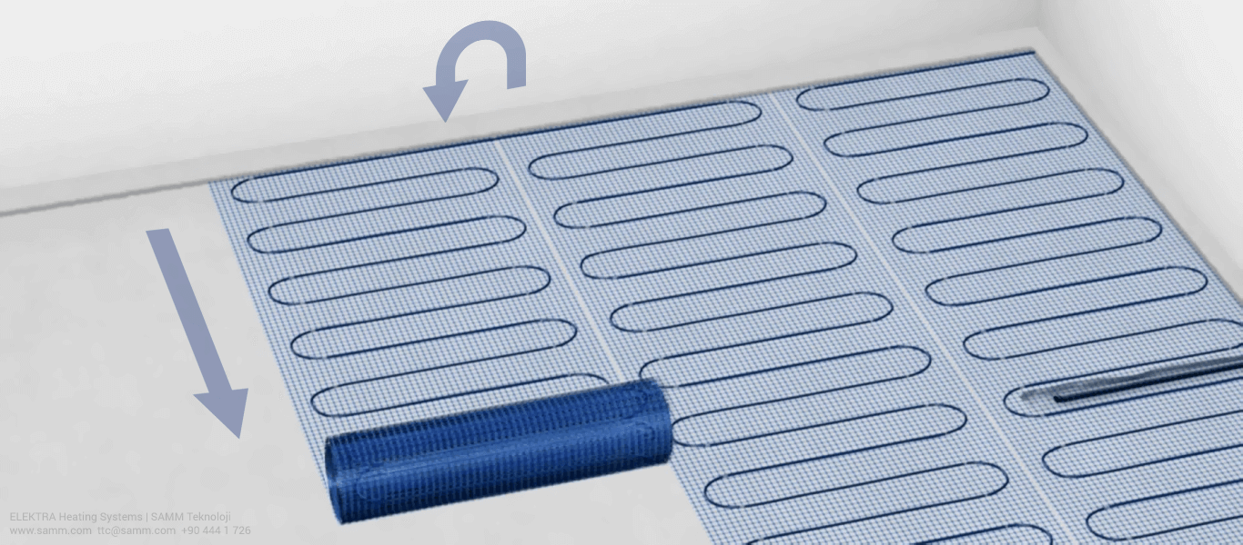 ELEKTRA Underfloor Heating Mat Installation | Place the heating mat according to the previously designed layout 3