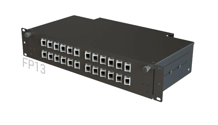 FP13 Fiber Optic Rack Patch Panel Angled Front-Plate Slide-Out 24 Ports 2U 2-Rows SC-LC-FC