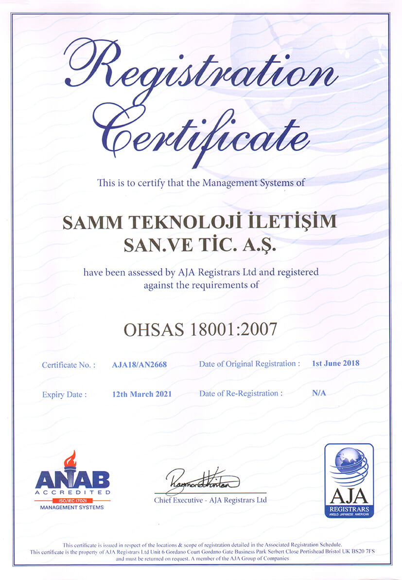 QUALITY MANAGEMENT OHSAS 18001-2007