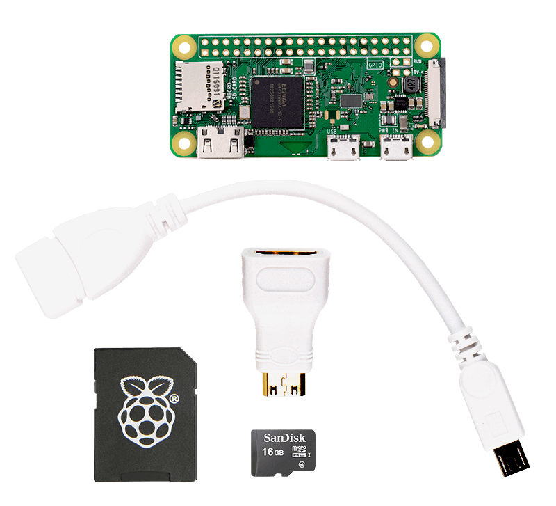 sample white cable Raspberry Pi zero wireless kit