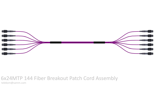 6x24MTP 144 Fiber Breakout Patch Cord Assembly