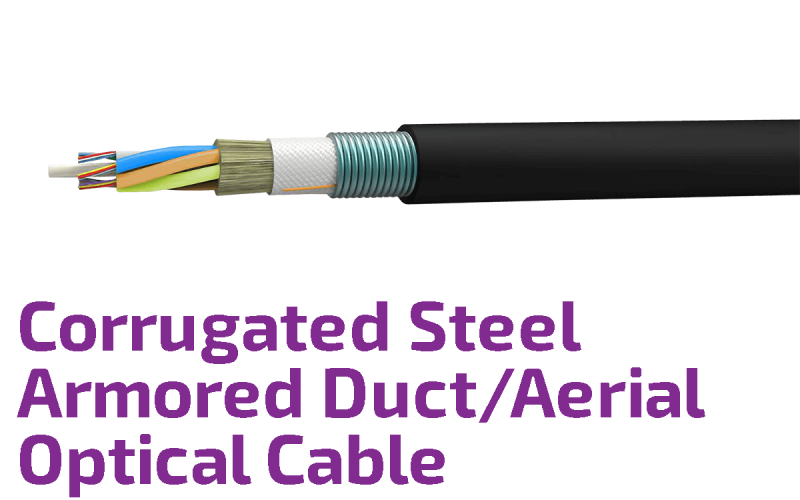 Corrugated Control Cables : Duct aerial fiber optic cable with corrugated steel armor