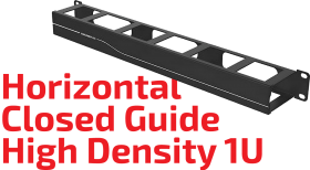 Closed Horizontal Cable Guide - 1U High Density
