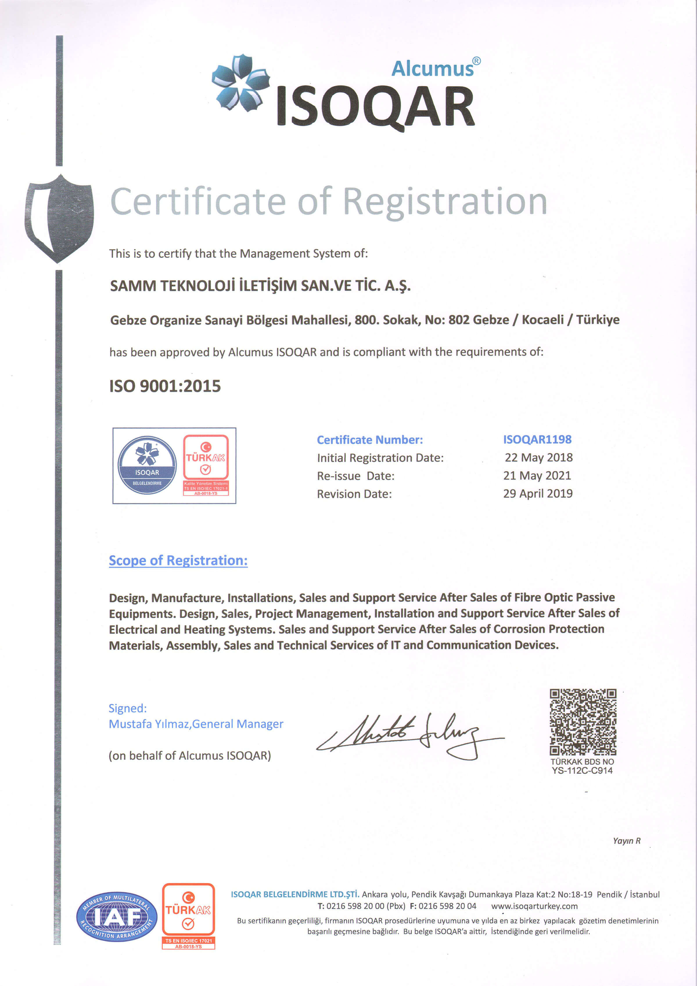 QUALITY MANAGEMENT SYSTEM CERTIFICATE ISO 14001-2015