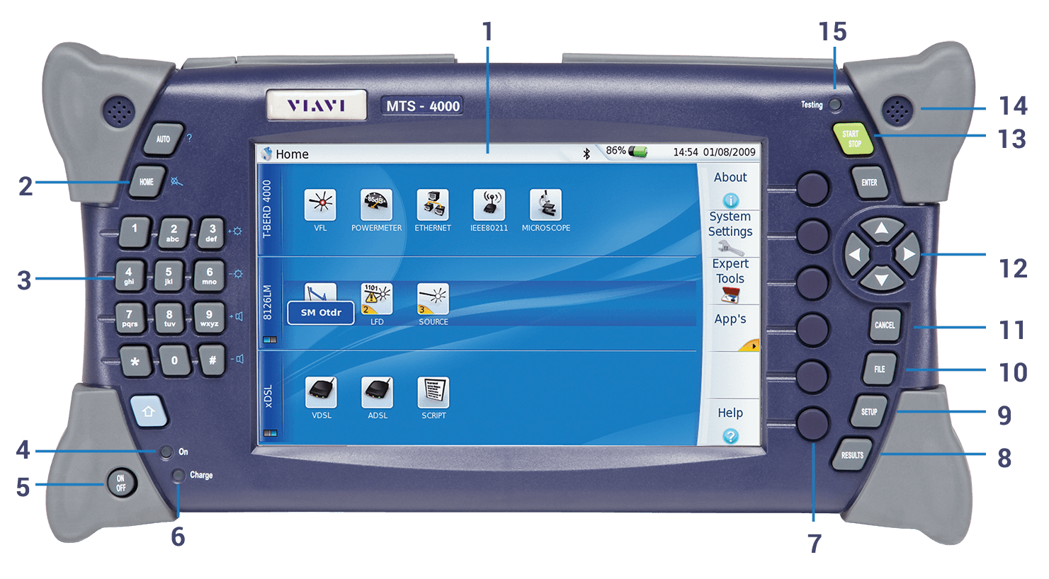 VIAVI-MTS-4000-Multiple-Services-Fiber-Optic-Test-Platform-buttons-navigation-JDSU