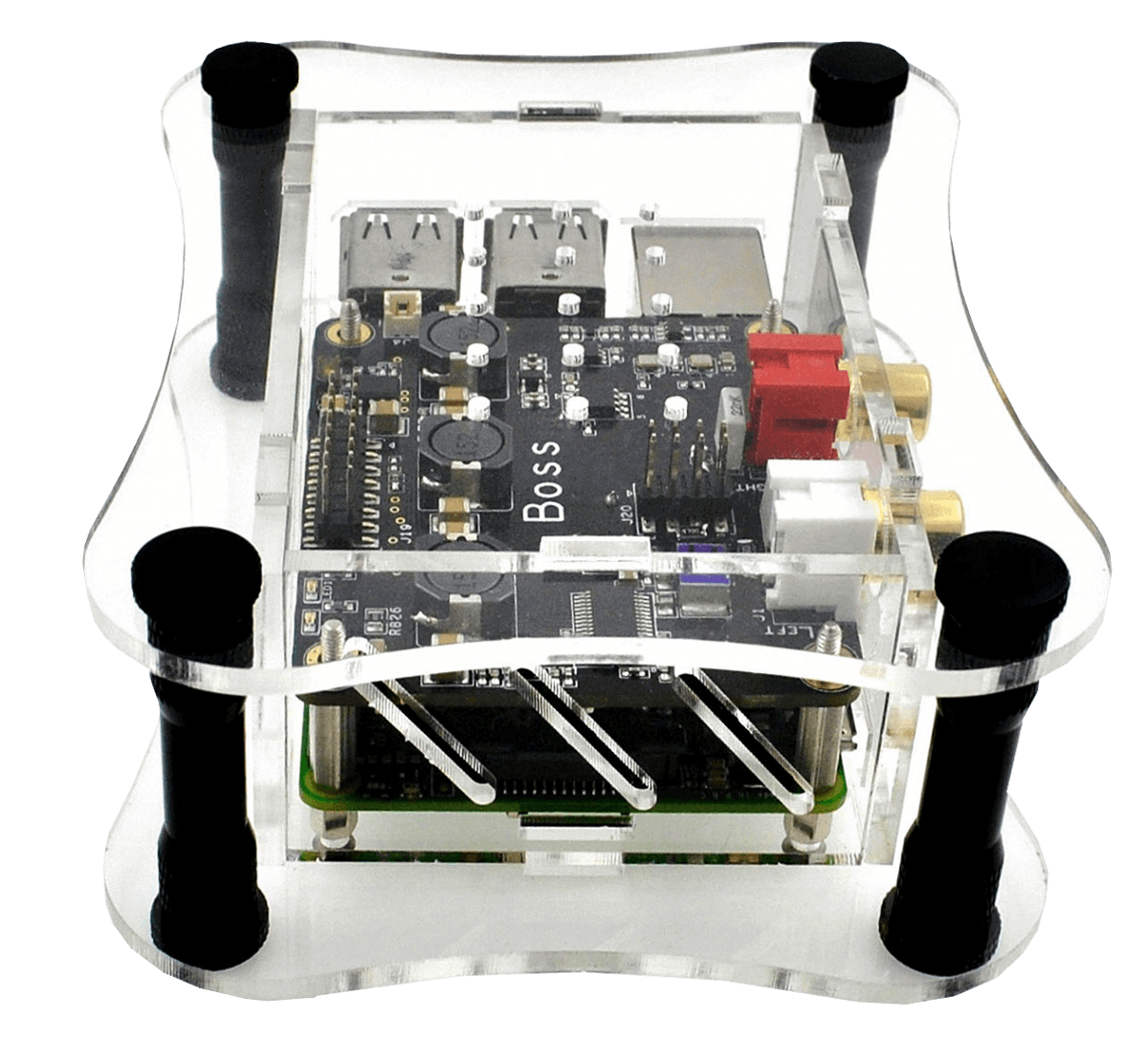 Clear Acrylic Case for Raspberry Pi + BOSS DAC  -side