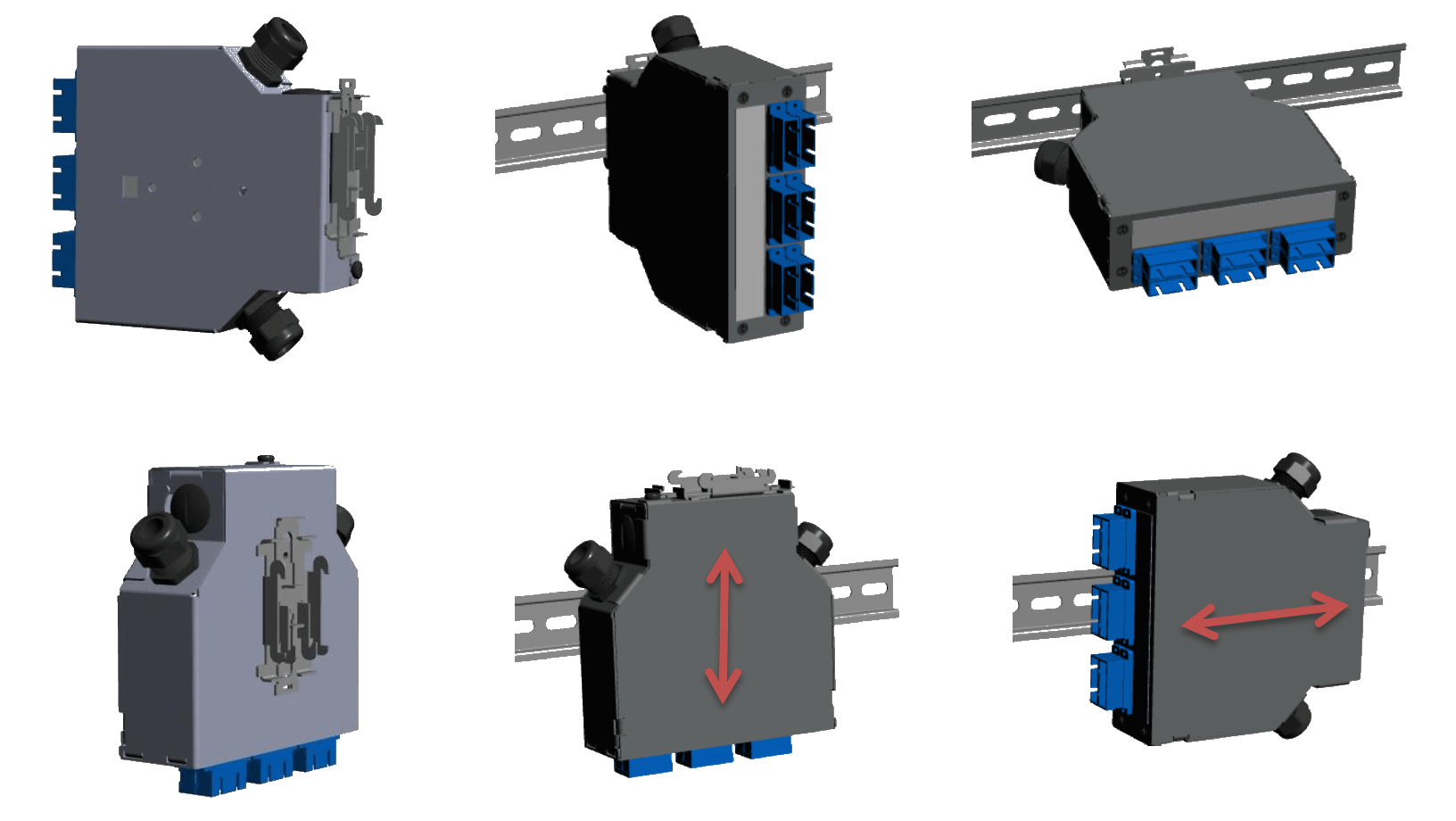 SC-DX 12 FO Termination Box Mounting Options ( Top - Back )