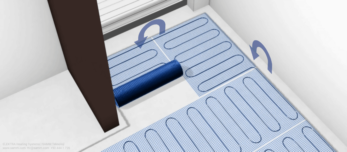 ELEKTRA Underfloor Heating Mat Installation | Place the heating mat according to the previously designed layout 4