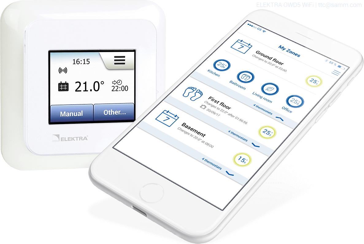 ELEKTR OWD5 WiFi Thermostat - Smart Touch-Screen Wifi Heating Controller