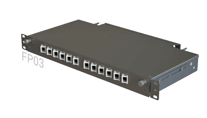 Fp03 Fiber Patch Panel Slide Out Angled 12 Ports 1u 1 Row Sc Lc Fc
