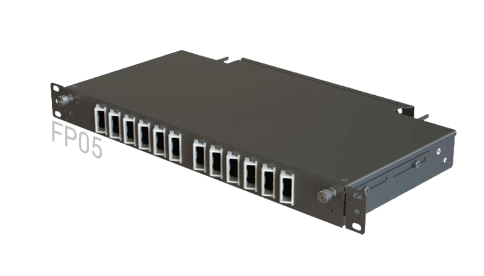 FP05 Fiber Optic Rack Patch Panel Angled Front-Plate Slide-Out 12 Ports 1U 1-Row SC-Duplex/FC