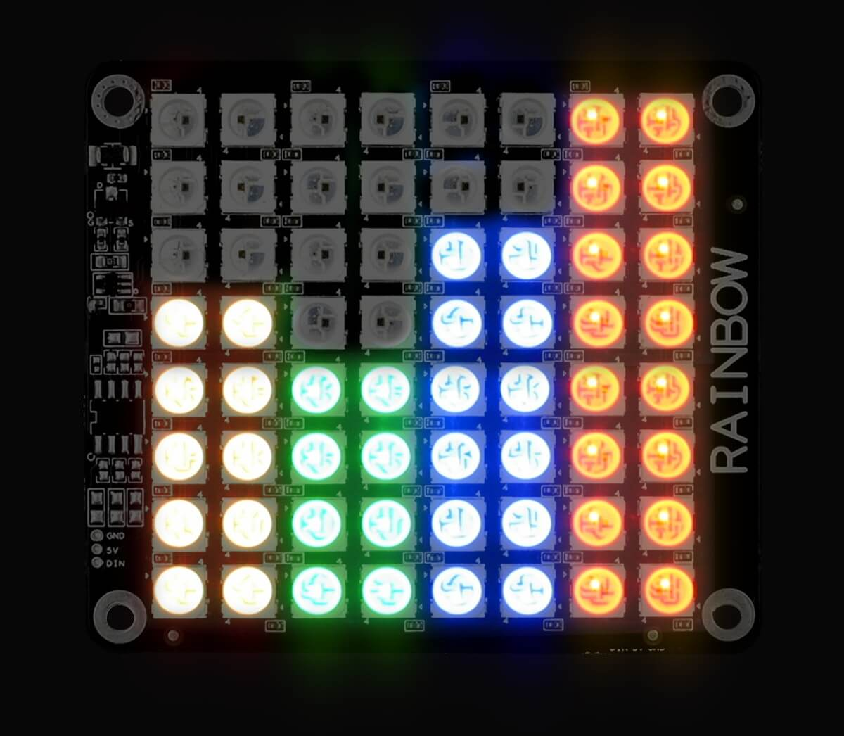 Rainbow 64 - 8x8 RGB LED in the Dark