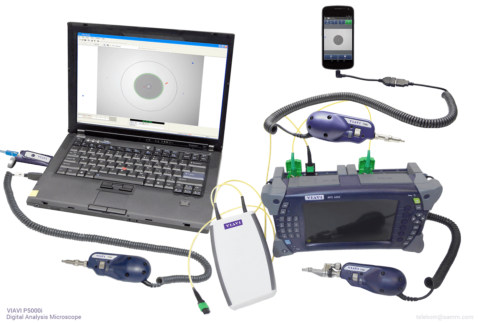 VIAVI P5000i | Connects via USB with multiple devices including Viavi tools, laptops/PCs, and Android mobile devices