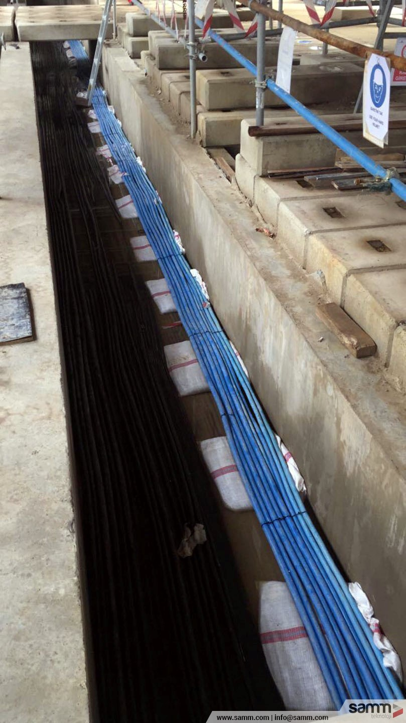 Samm Teknoloji | Intrinsically Safe Cable pulling inside an instrument trench.