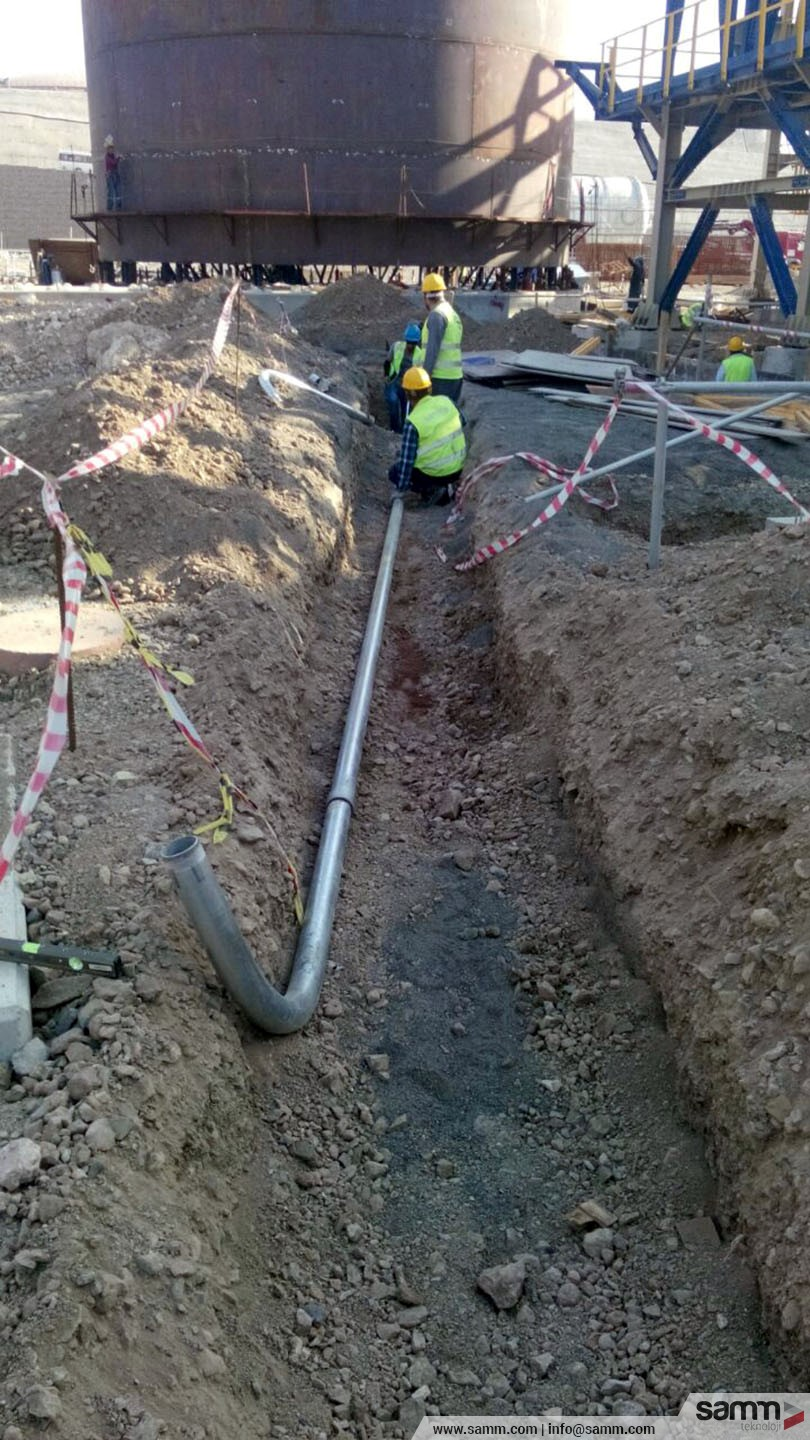 Samm Teknoloji |  RGS Piping installation for feeder cable to site motor.
