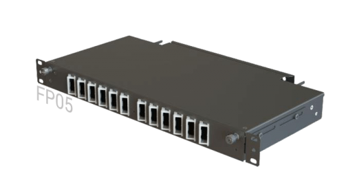FP05 Fiber Optic Rack Patch Panel / Angled Front-Plate Slide-Out 24 Ports 1U 1-Row SC-Duplex/FC