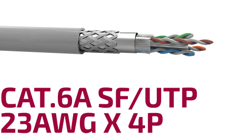 Shielded Data Cable Cat.6A SF/UTP 23 AWG x 4P