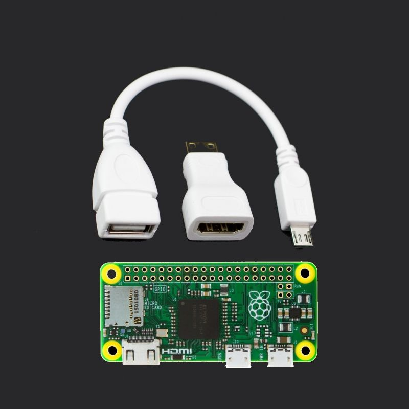 Raspberry Pi Zero with USB cable and HDMI adapter