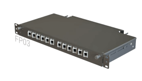 FP03 Fiber Optic Rack Patch Panel / Angled Front-Plate Slide-Out 12 Ports 1U 1-Row SC-LC-FC