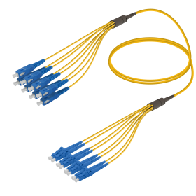 SC-LC | Single Mod - 8 Fiber - Fanout Patch Cord | 3.0/1.8mm