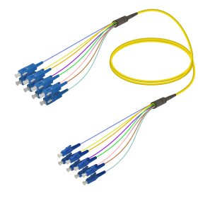 SC-LC | Single Mod - 8 Fiber - Fanout Patch Cord | 3.0/0.9mm