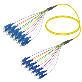 SC-LC | Single Mod - 12 Fiber - Fanout Patch Cord | 3.0/0.9mm
